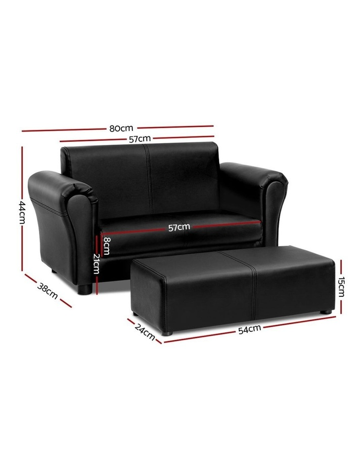 Keezi Kids Sofa Armchair Footstool Set Children Lounge Chair Couch Double Black image 2