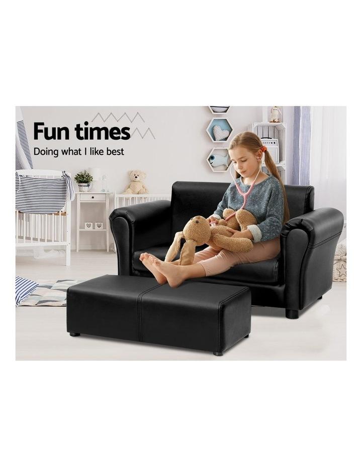 Keezi Kids Sofa Armchair Footstool Set Children Lounge Chair Couch Double Black image 3
