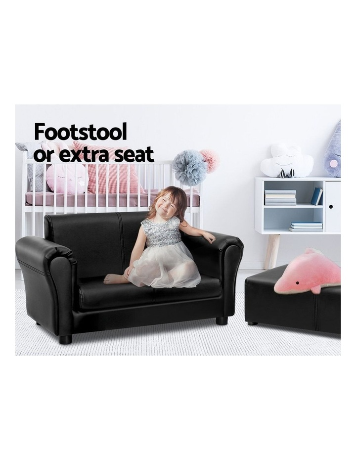 Keezi Kids Sofa Armchair Footstool Set Children Lounge Chair Couch Double Black image 4