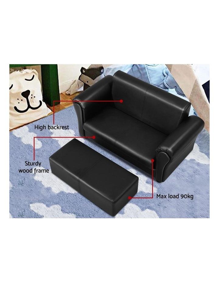 Keezi Kids Sofa Armchair Footstool Set Children Lounge Chair Couch Double Black image 5