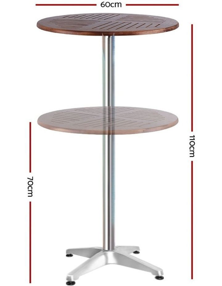 Outdoor Bar Table Furniture Wooden Cafe Table Aluminium Adjustable Round image 2