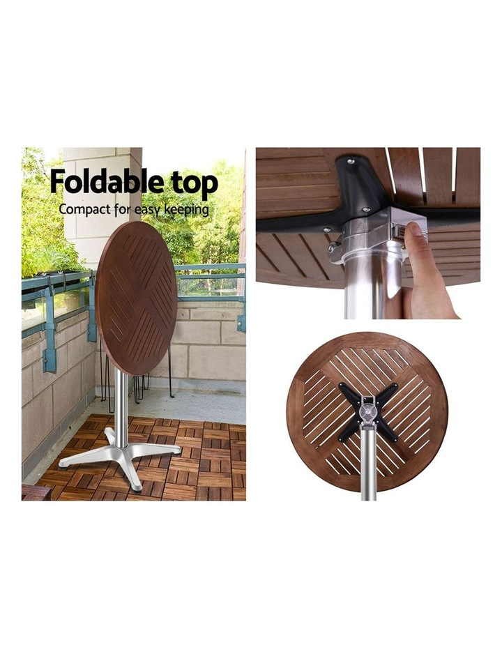 Outdoor Bar Table Furniture Wooden Cafe Table Aluminium Adjustable Round image 6