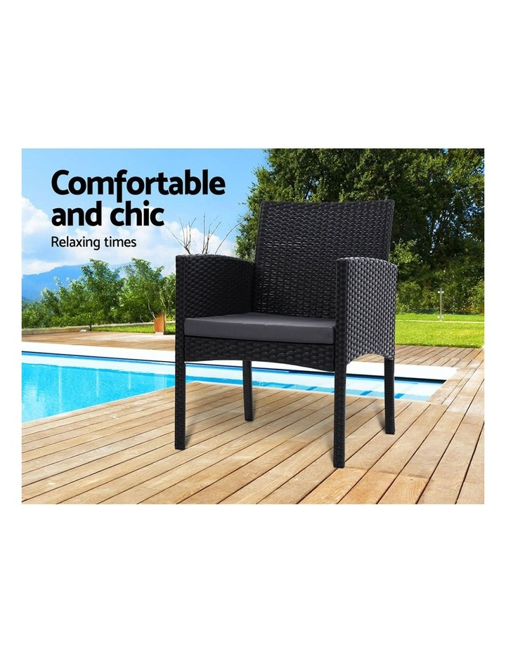 Outdoor Bistro Chairs Patio Furniture Dining Chair Wicker Garden Cushion image 3
