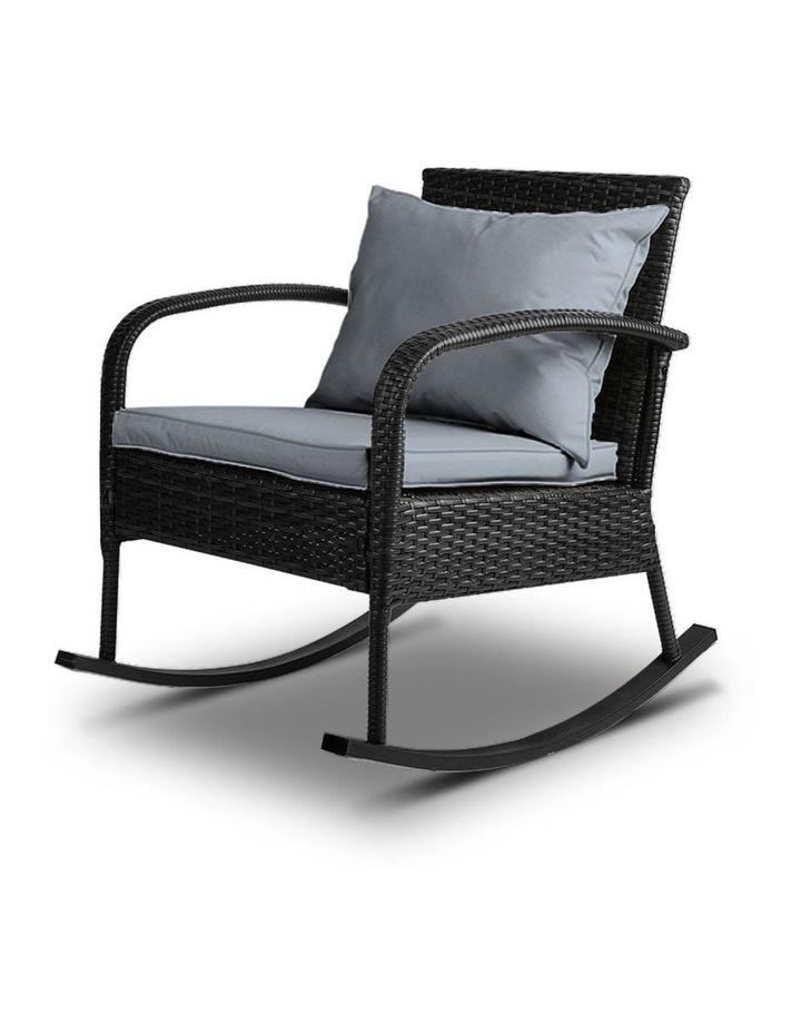 Outdoor Furniture Rocking Chair Wicker Garden Patio Lounge Setting Black image 1