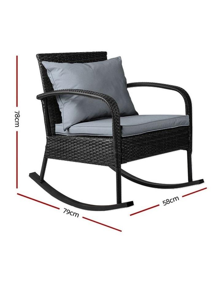 Outdoor Furniture Rocking Chair Wicker Garden Patio Lounge Setting Black image 2