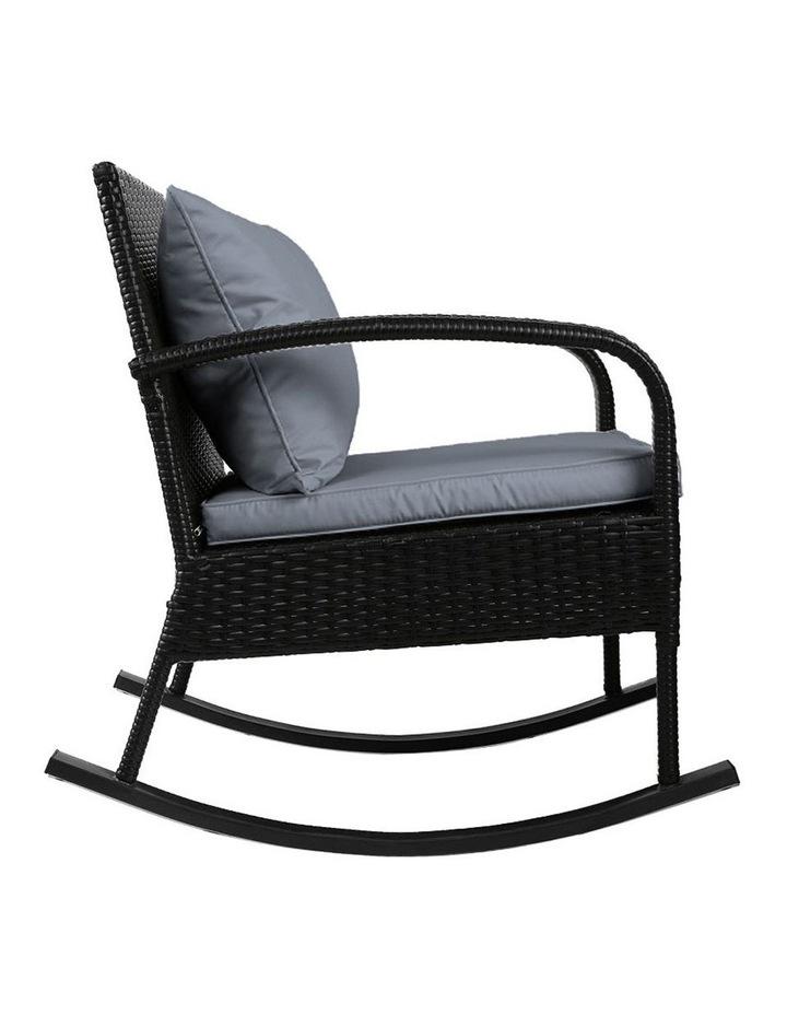 Outdoor Furniture Rocking Chair Wicker Garden Patio Lounge Setting Black image 3