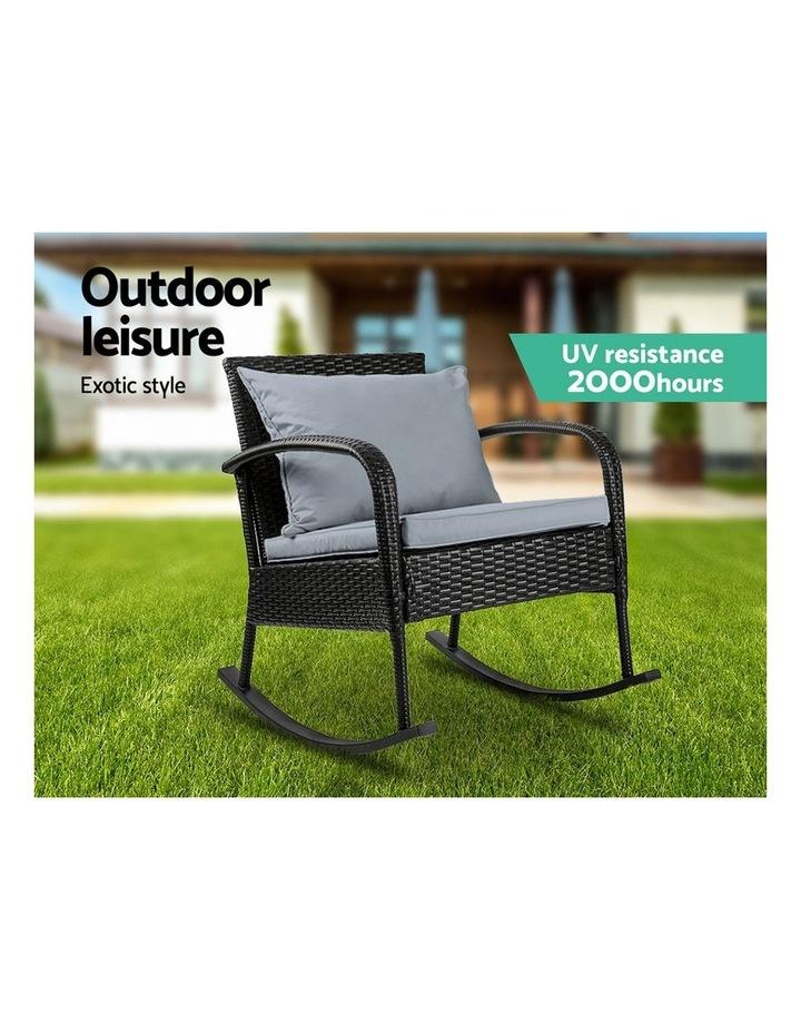 Outdoor Furniture Rocking Chair Wicker Garden Patio Lounge Setting Black image 4