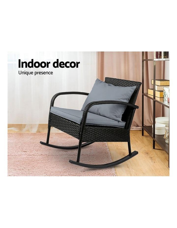 Outdoor Furniture Rocking Chair Wicker Garden Patio Lounge Setting Black image 5