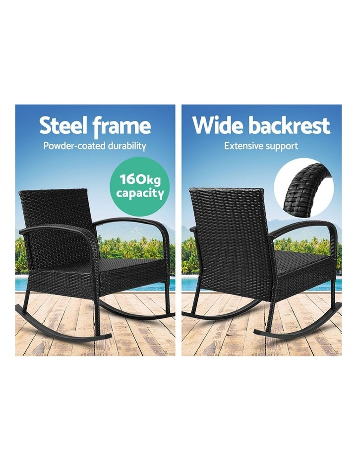 Outdoor Furniture Rocking Chair Wicker Garden Patio Lounge Setting Black image 6