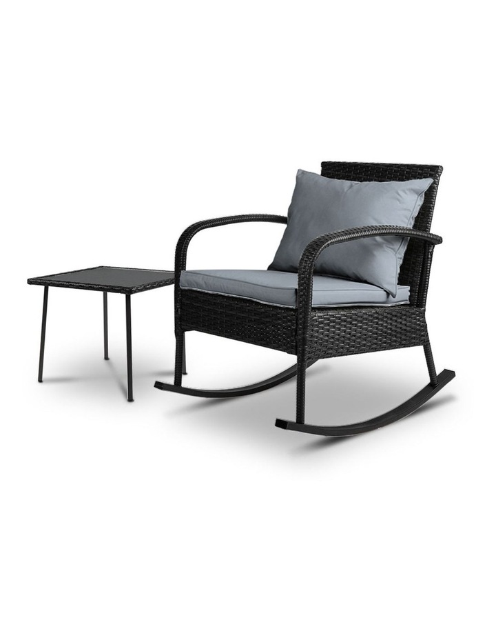 Wicker Rocking Chairs Table Set Outdoor Setting Recliner Patio Furniture image 1