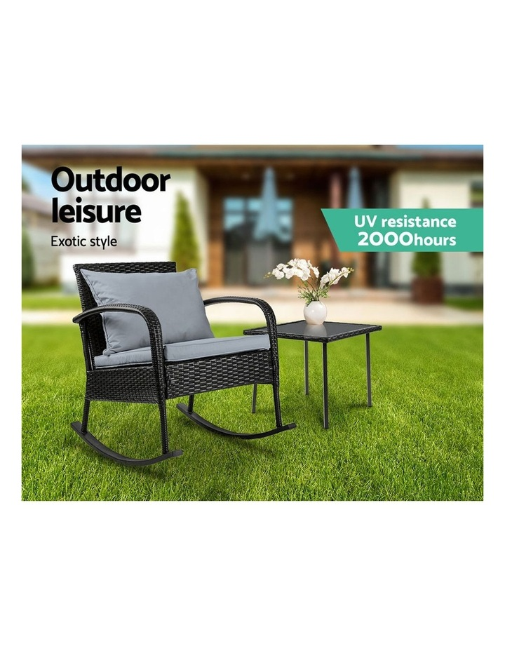 Wicker Rocking Chairs Table Set Outdoor Setting Recliner Patio Furniture image 4