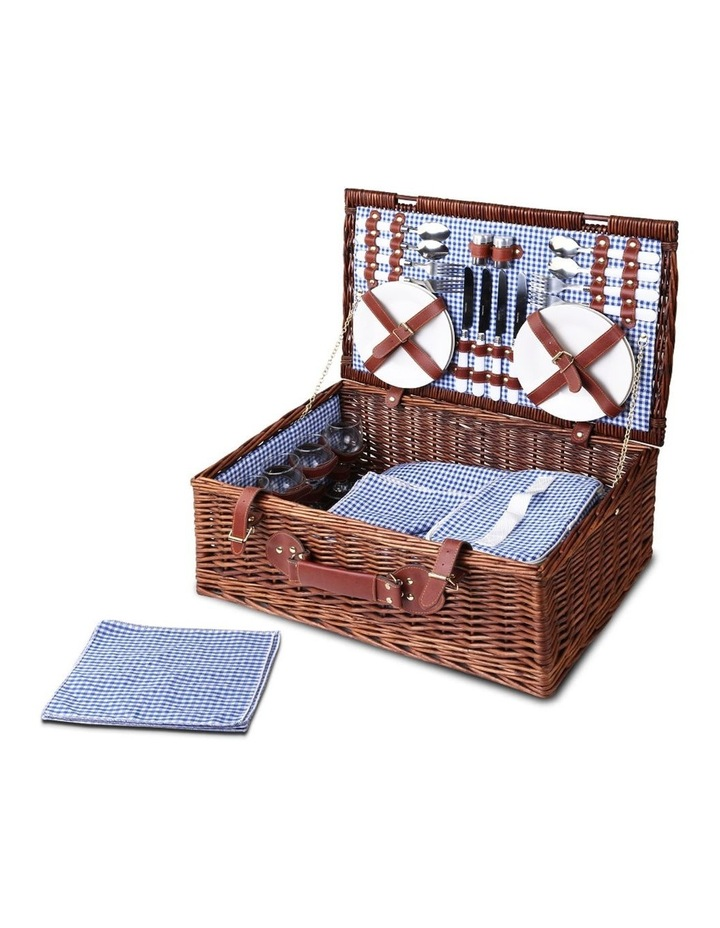 4 Person Picnic Basket Baskets Handle Outdoor Insulated Blanket image 1