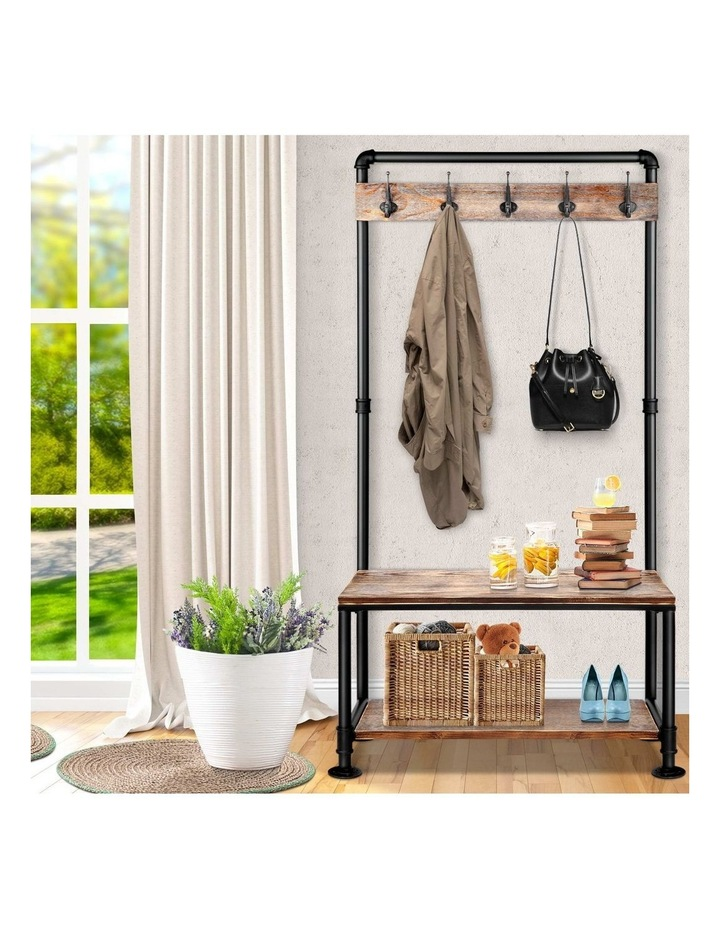 Clothes Rack Coat Stand Garment Organizer Retro Hanger Wooden Airer Shelf image 6