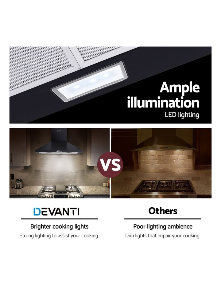 Rangehood Range Hood 600mm Filter Included Black Stainless Steel Canopy LED Light Kitc image 6