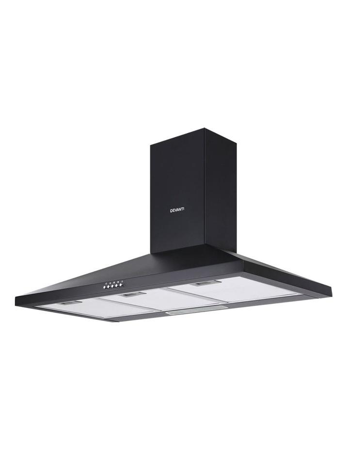 Range Hood Rangehood 90cm 900mm Kitchen Canopy LED Light Wall Mount Black image 1