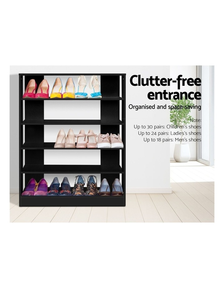 Shoe Cabinet Shoes Organiser Storage Rack 30 Pairs Black Shelf Wooden image 3