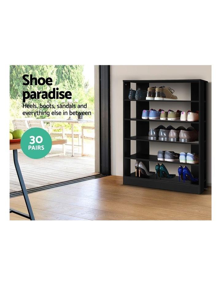 Shoe Cabinet Shoes Organiser Storage Rack 30 Pairs Black Shelf Wooden image 4