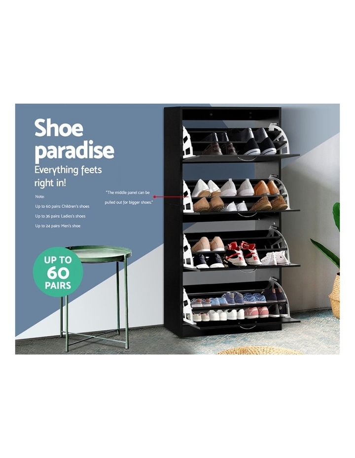 Shoe Cabinet Shoes Storage Rack Organiser 60 Pairs Black Shelf Drawer image 4