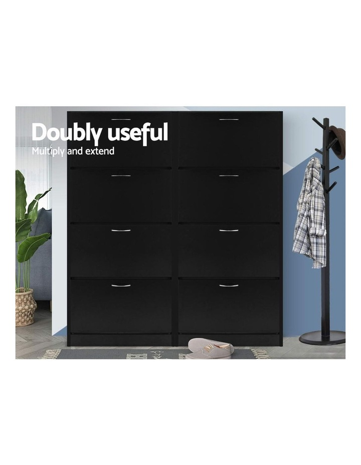 Shoe Cabinet Shoes Storage Rack Organiser 60 Pairs Black Shelf Drawer image 6