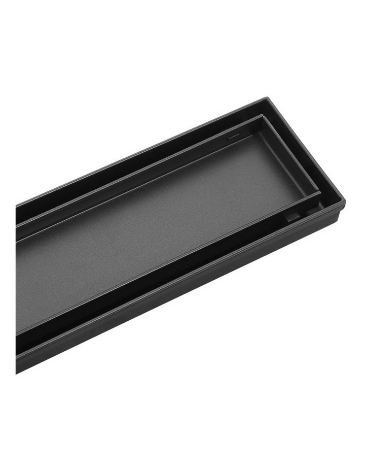 Stainless Steel Shower Grate Tile Insert Bathroom Floor Drain Liner 800MM Black image 1