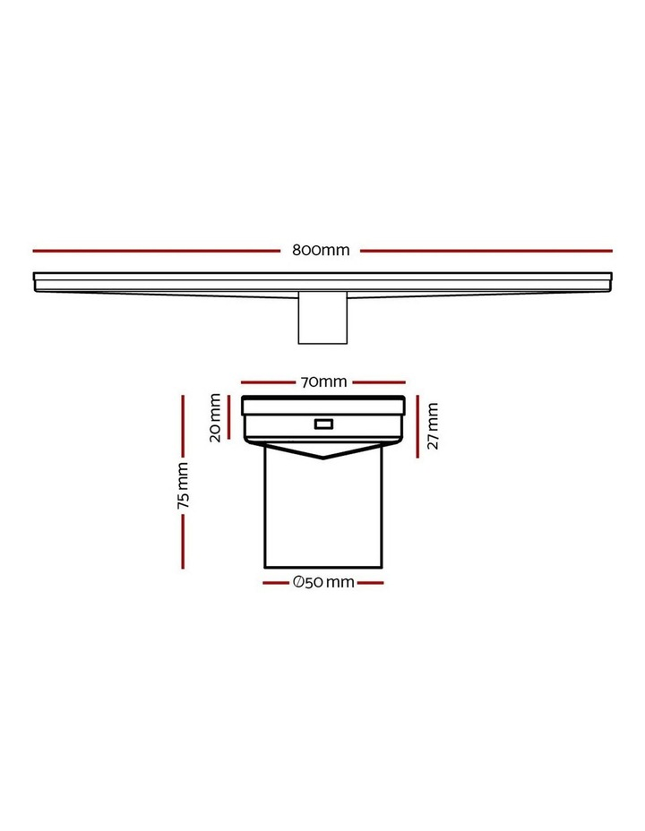 Stainless Steel Shower Grate Tile Insert Bathroom Floor Drain Liner 800MM Black image 2