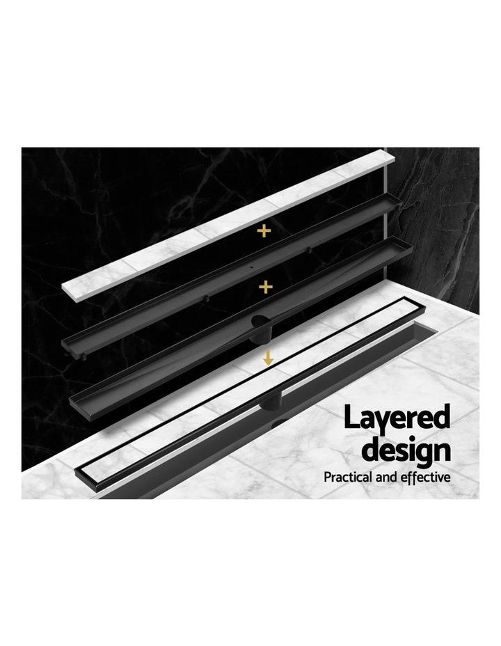 Stainless Steel Shower Grate Tile Insert Bathroom Floor Drain Liner 800MM Black image 5