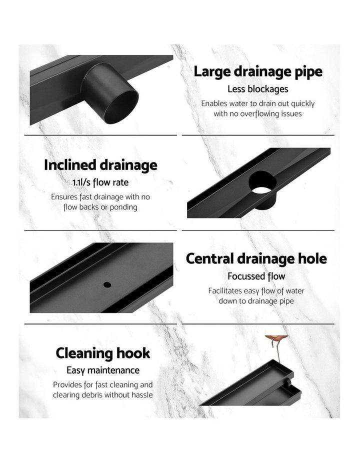 Stainless Steel Shower Grate Tile Insert Bathroom Floor Drain Liner 800MM Black image 6