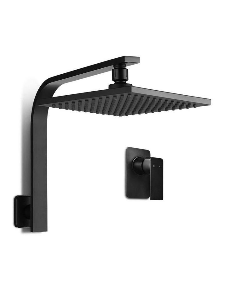 "WELS 8"" Rain Shower Head Set Bathroom Gooseneck Square Mixer Hand Held High Pressure Black image 1"