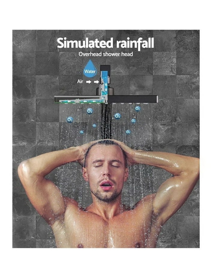 "WELS 8"" Rain Shower Head Set Bathroom Gooseneck Square Mixer Hand Held High Pressure Black image 3"