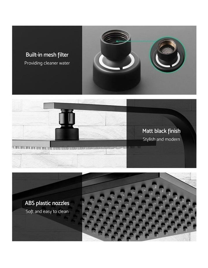 "WELS 8"" Rain Shower Head Set Bathroom Gooseneck Square Mixer Hand Held High Pressure Black image 4"