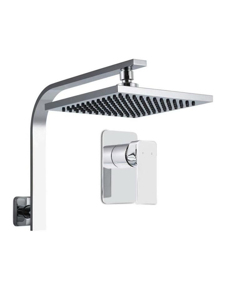 "WELS 8"" Rain Shower Head Set Bathroom Gooseneck Square Mixer Hand Held High Pressure Silver image 1"