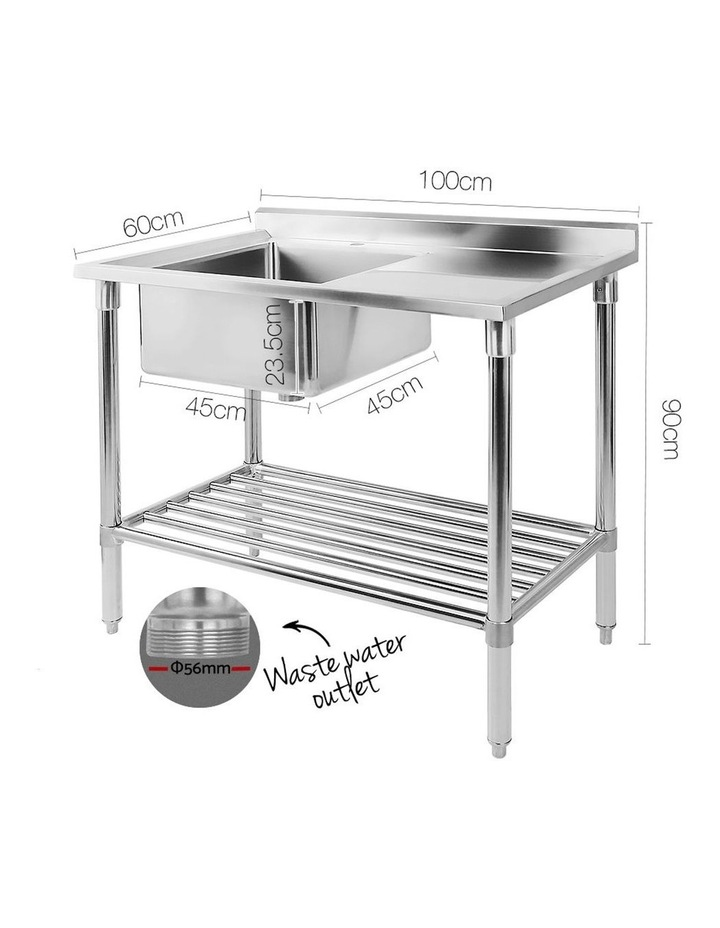 Commercial Stainless Steel Kitchen Sink Bench 100x60cm image 2