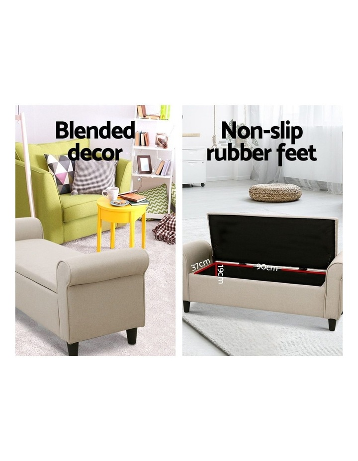 Storage Ottoman Blanket Box Linen Fabric Arm Foot Stool Couch Chest Large image 4