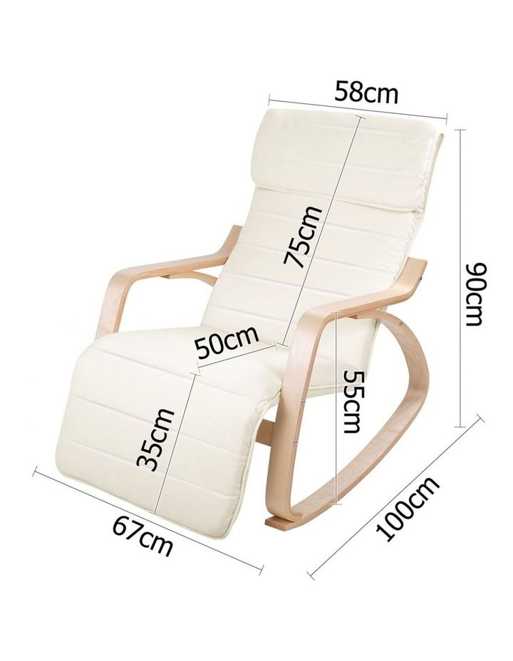 Fabric Rocking Armchair with Adjustable Footrest - Beige image 2