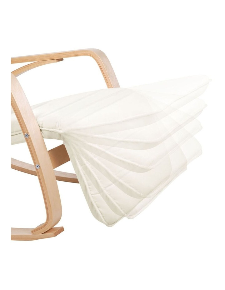 Fabric Rocking Armchair with Adjustable Footrest - Beige image 5
