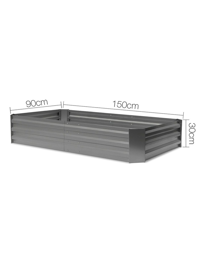 Greenfingers 150x90cm Galvanised Steel Raised Garden Bed Planter Aluminium Grey image 2