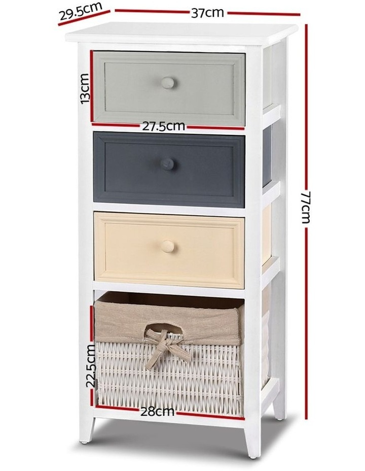 4 Drawers Storage Dresser - White image 2
