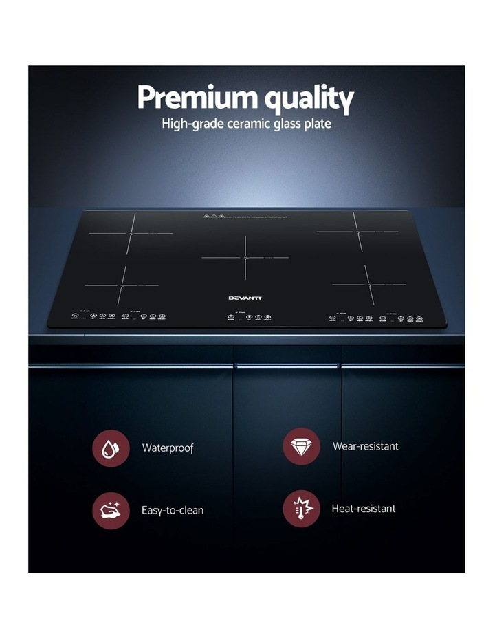 Induction Cooktop 90cm Electric Hob Stove Cooker Ceramic Black Glass image 4