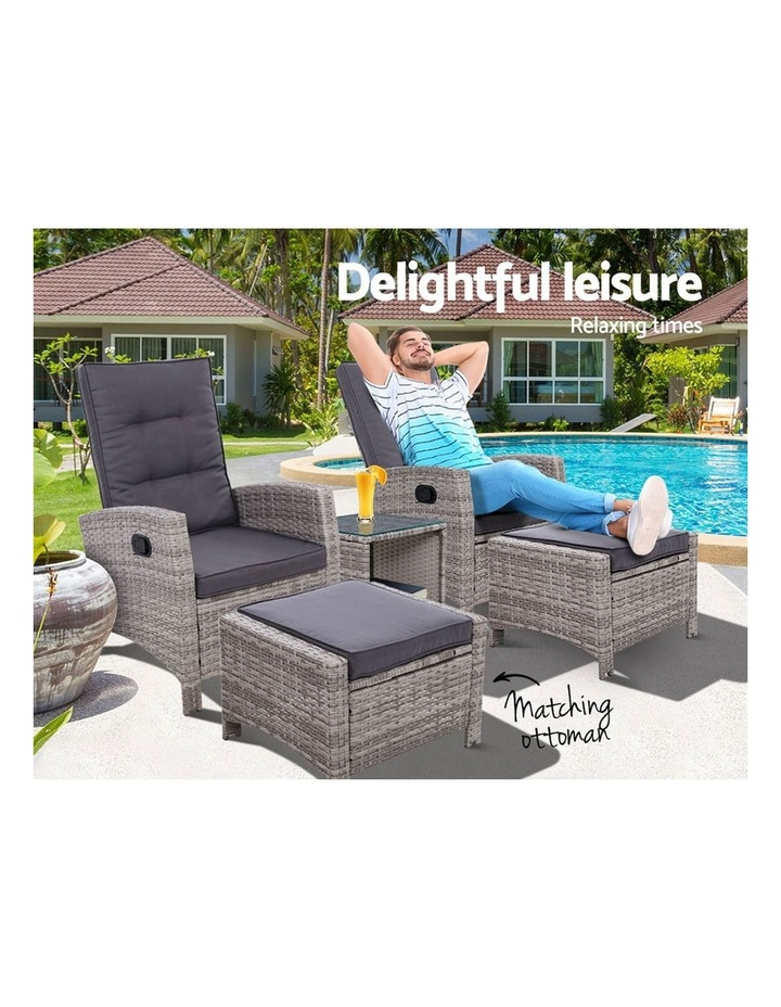 Outdoor Patio Furniture Recliner Chairs Table Set Wicker Sofa Lounge 5pc image 3