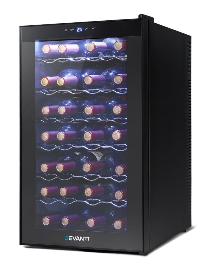 Wine Cooler 28 Bottle Thermoelectric Chiller Storage Fridge Cellar Black image 1