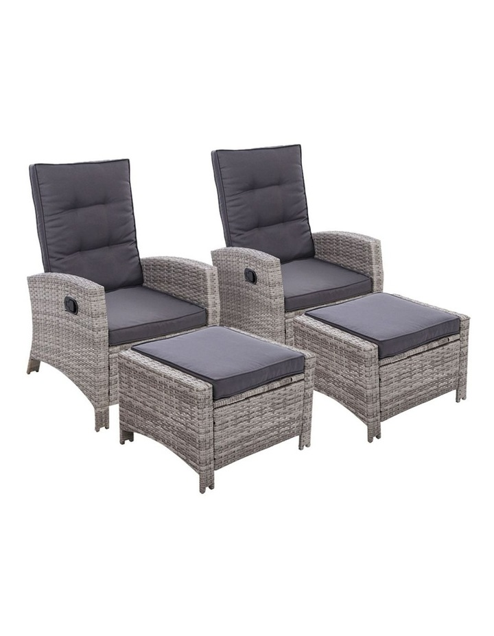2PC Sun lounge Recliner Chair Wicker Outdoor Furniture Patio Garden image 1