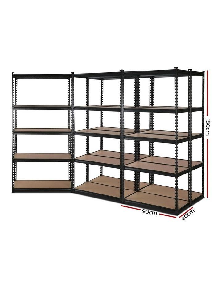 5x0.9M 5-Shelves Steel Warehouse Shelving Racking Garage Storage Rack Black image 2