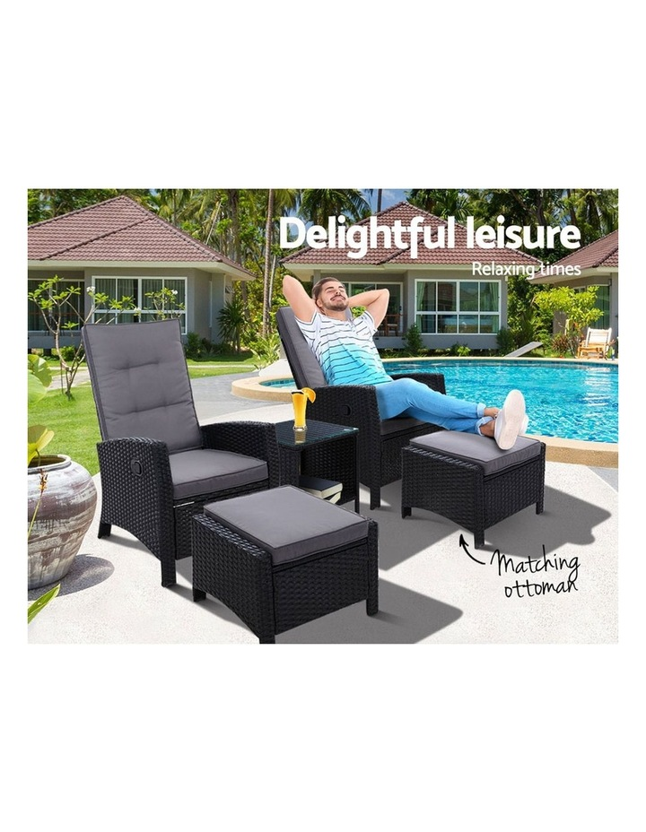 Outdoor Furniture 5pc Recliner Chairs Table Set Wicker Sofa Lounge Patio image 3