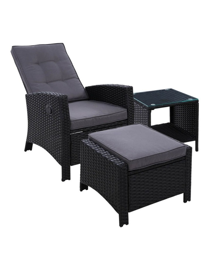 Outdoor Setting Recliner Chair Table Set Wicker Lounge Patio Furniture image 1