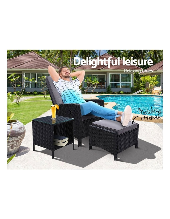 Outdoor Setting Recliner Chair Table Set Wicker Lounge Patio Furniture image 3