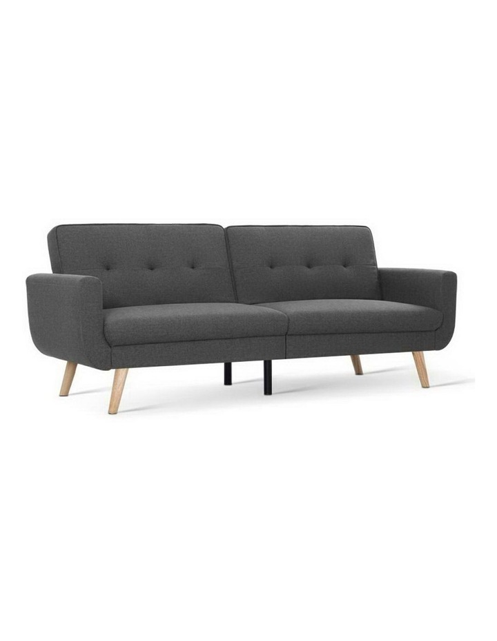 Sofa Bed Lounge Set Couch Futon 3 Seater Fabric Reliner 197cm Dark Grey image 1