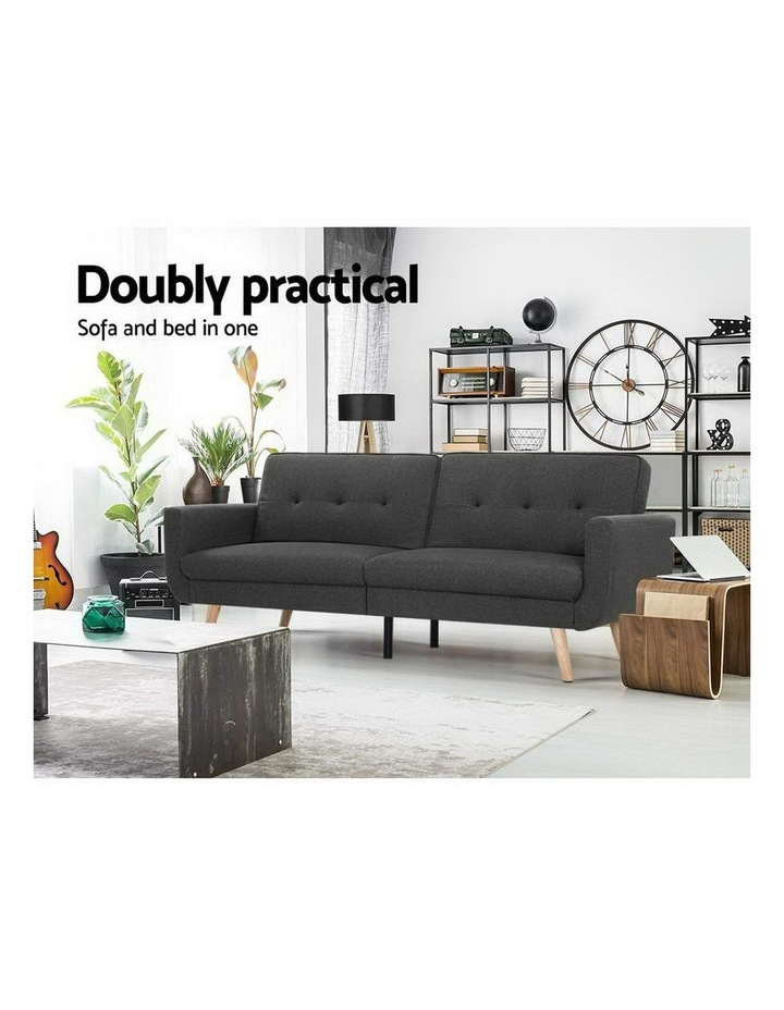 Sofa Bed Lounge Set Couch Futon 3 Seater Fabric Reliner 197cm Dark Grey image 3