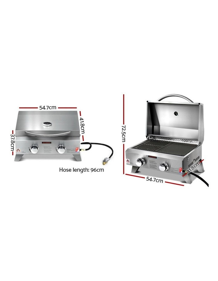Portable Gas BBQ LPG Oven Camping Cooker Grill 2 Burners Outdoor image 2
