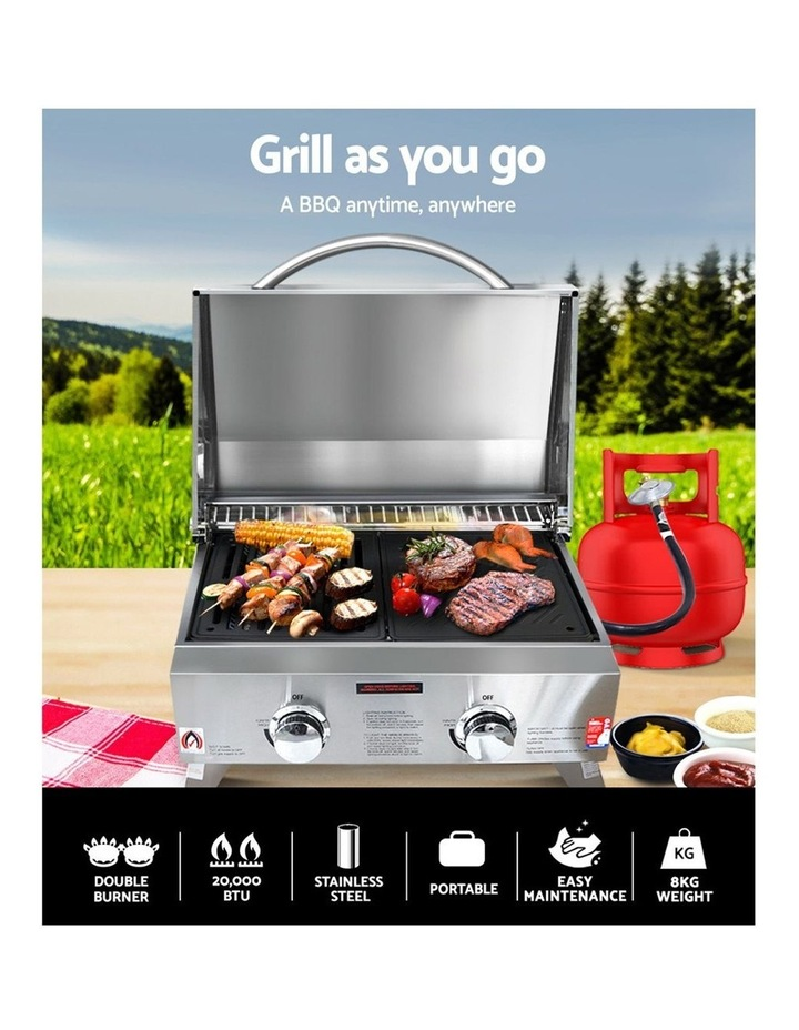 Portable Gas BBQ LPG Oven Camping Cooker Grill 2 Burners Outdoor image 3