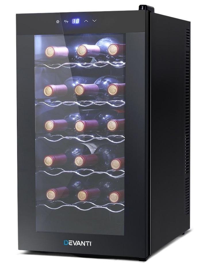 Devanti Wine Cooler 18 Bottle Thermoelectric Chiller Storage Fridge Cellar Black image 1